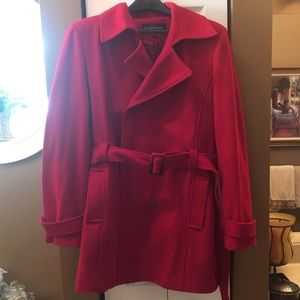 Red Peacoat with belt